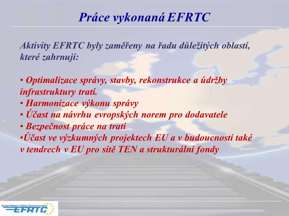Práce vykonaná EFRTC Aktivity EFRTC byly zaměřeny na řadu důležitých oblastí, které zahrnují: Optimalizace správy, stavby, rekonstrukce a údržby infrastruktury tratí.