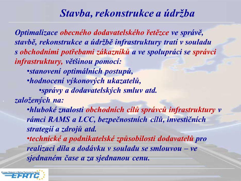 . Stavba, rekonstrukce a údržba Optimalizace obecného dodavatelského řetězce ve správě, stavbě, rekonstrukce a údržbě infrastruktury tratí v souladu s