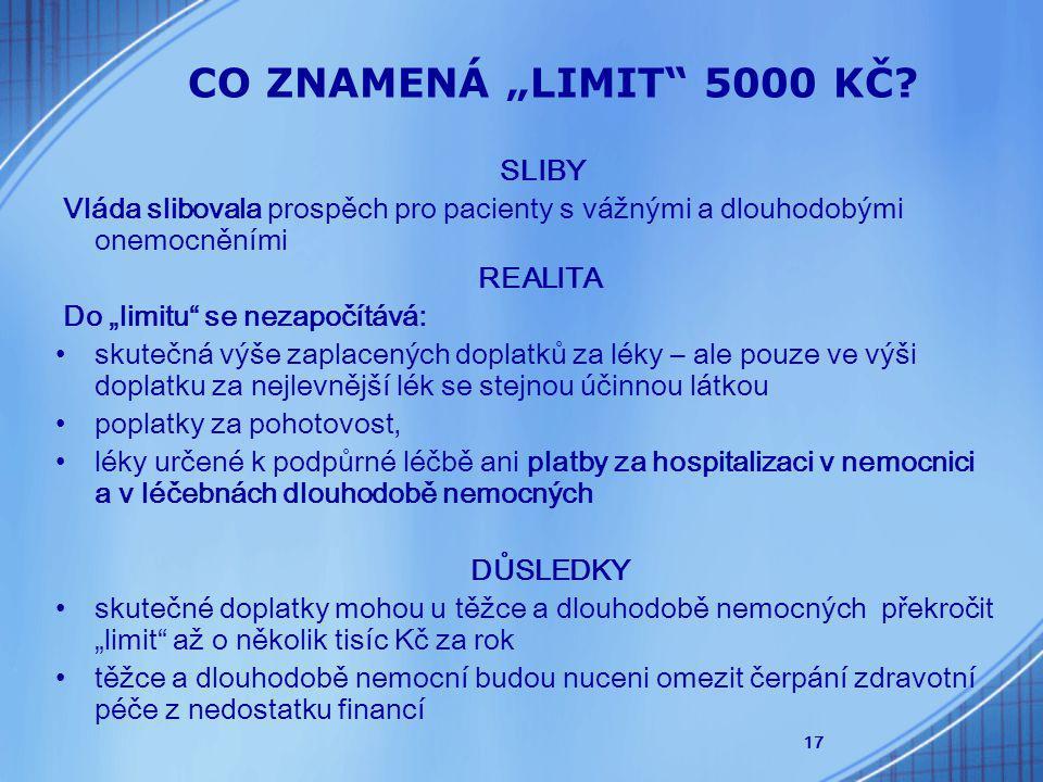 """17 CO ZNAMENÁ """"LIMIT 5000 KČ."""