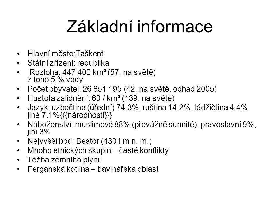 Základní informace Hlavní město:Taškent Státní zřízení: republika Rozloha: 447 400 km² (57. na světě) z toho 5 % vody Počet obyvatel: 26 851 195 (42.