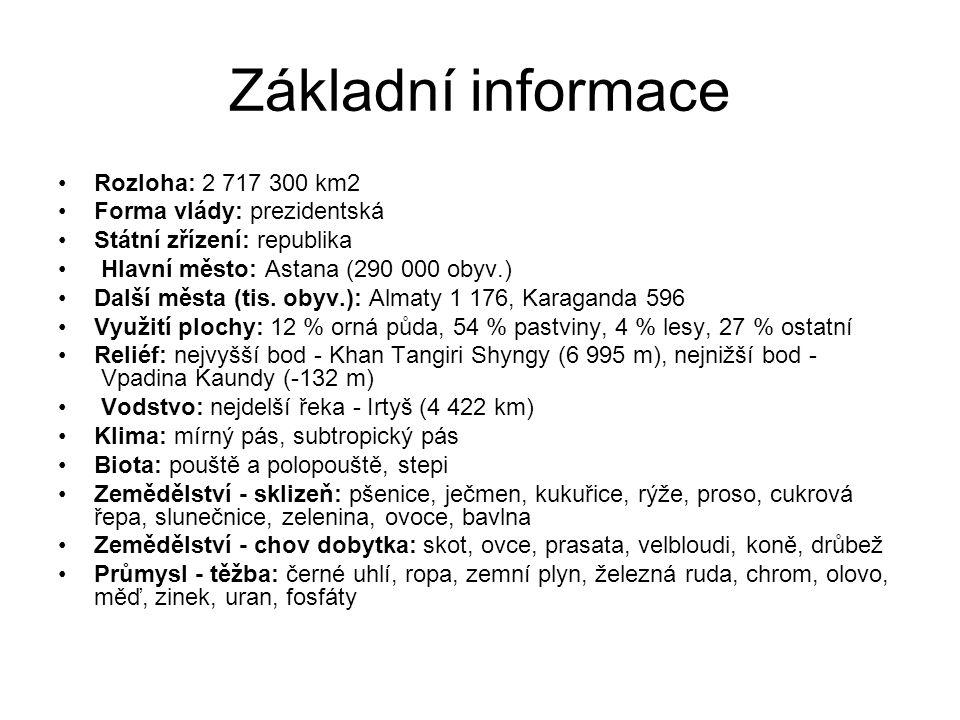 Základní informace Rozloha: 2 717 300 km2 Forma vlády: prezidentská Státní zřízení: republika Hlavní město: Astana (290 000 obyv.) Další města (tis. o