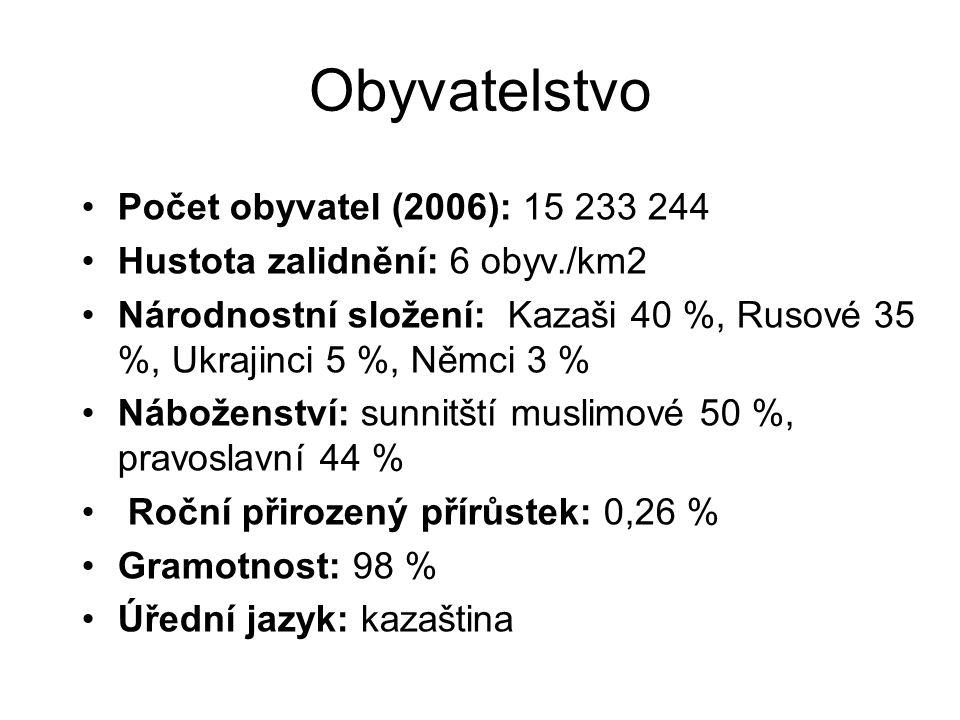 Obyvatelstvo Počet obyvatel (2006): 15 233 244 Hustota zalidnění: 6 obyv./km2 Národnostní složení: Kazaši 40 %, Rusové 35 %, Ukrajinci 5 %, Němci 3 %