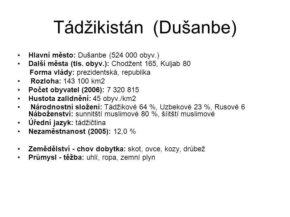 Tádžikistán (Dušanbe) Hlavní město: Dušanbe (524 000 obyv.) Další města (tis. obyv.): Chodžent 165, Kuljab 80 Forma vlády: prezidentská, republika Roz