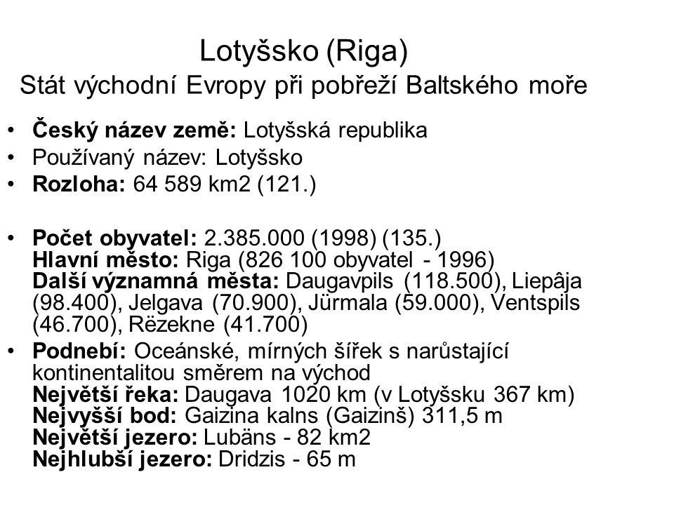 Lotyšsko (Riga) Stát východní Evropy při pobřeží Baltského moře Český název země: Lotyšská republika Používaný název: Lotyšsko Rozloha: 64 589 km2 (12