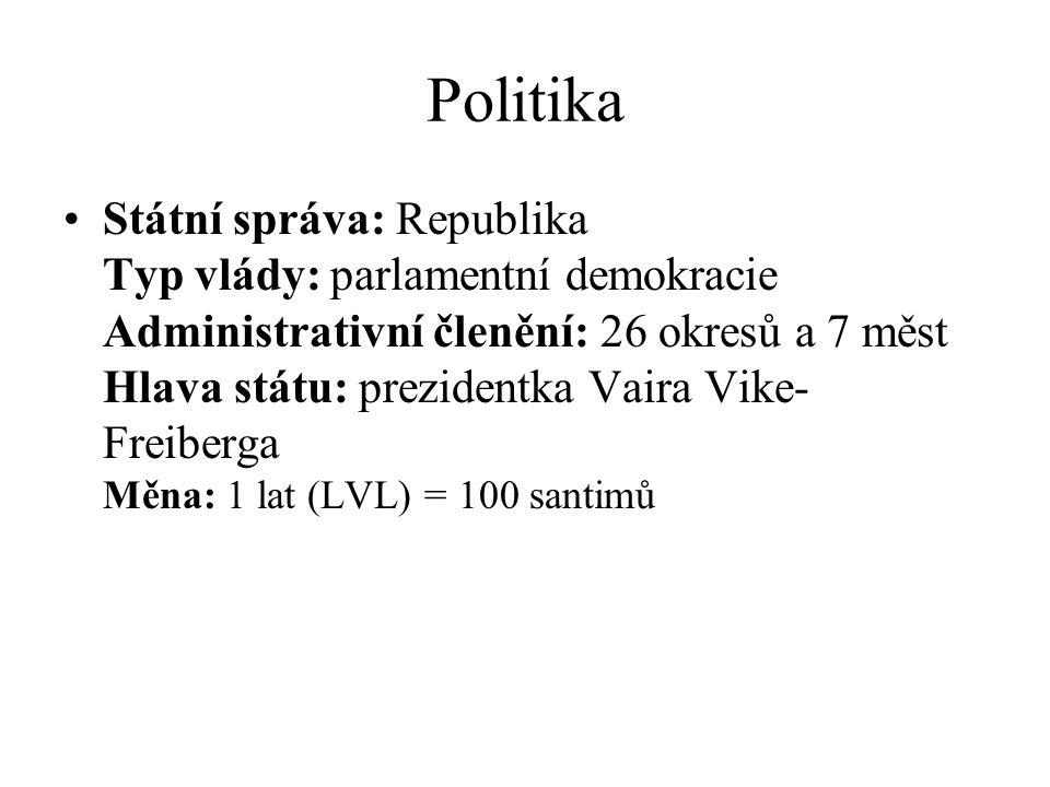 Politika Státní správa: Republika Typ vlády: parlamentní demokracie Administrativní členění: 26 okresů a 7 měst Hlava státu: prezidentka Vaira Vike- F