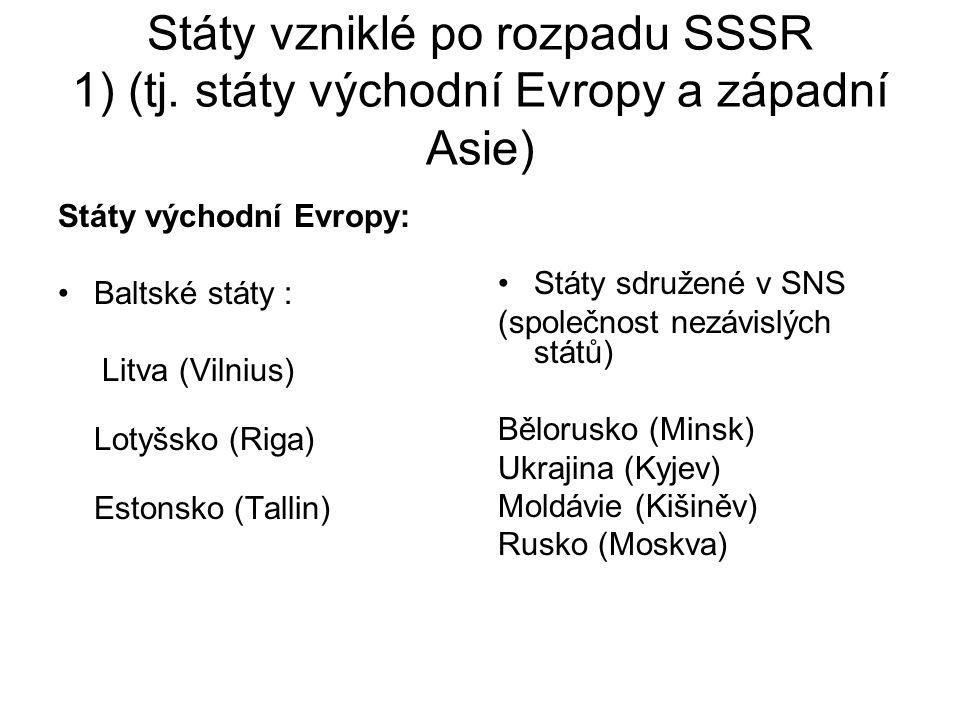 Státy vzniklé po rozpadu SSSR 1) (tj. státy východní Evropy a západní Asie) Státy východní Evropy: Baltské státy : Litva (Vilnius) Lotyšsko (Riga) Est