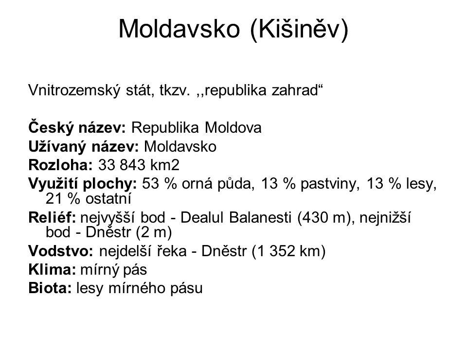 """Moldavsko (Kišiněv) Vnitrozemský stát, tkzv.,,republika zahrad"""" Český název: Republika Moldova Užívaný název: Moldavsko Rozloha: 33 843 km2 Využití pl"""