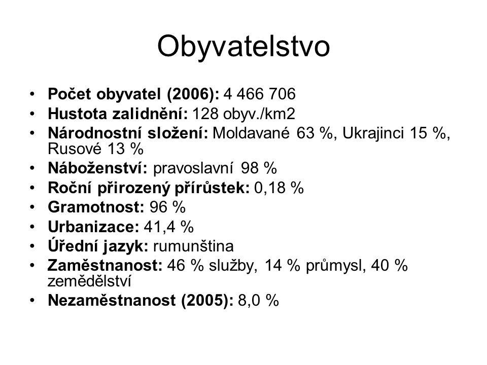 Obyvatelstvo Počet obyvatel (2006): 4 466 706 Hustota zalidnění: 128 obyv./km2 Národnostní složení: Moldavané 63 %, Ukrajinci 15 %, Rusové 13 % Nábože