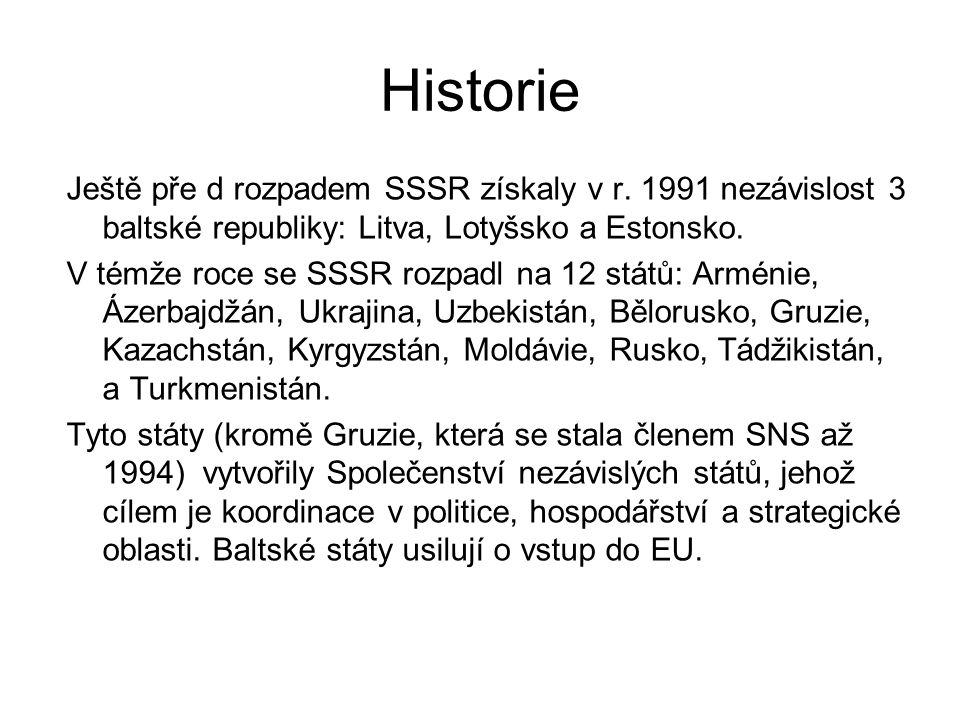 Historie Ještě pře d rozpadem SSSR získaly v r. 1991 nezávislost 3 baltské republiky: Litva, Lotyšsko a Estonsko. V témže roce se SSSR rozpadl na 12 s