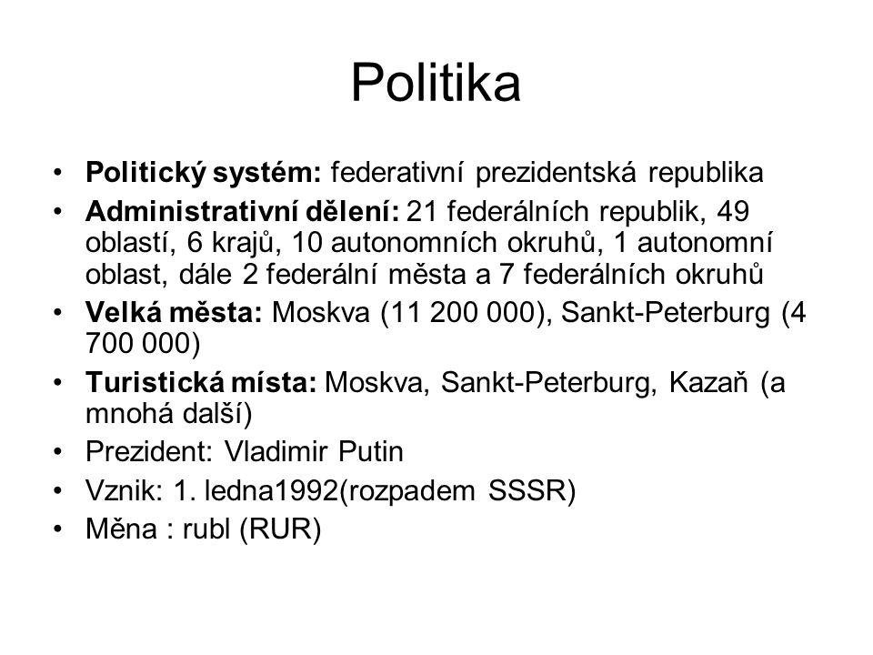 Politika Politický systém: federativní prezidentská republika Administrativní dělení: 21 federálních republik, 49 oblastí, 6 krajů, 10 autonomních okr