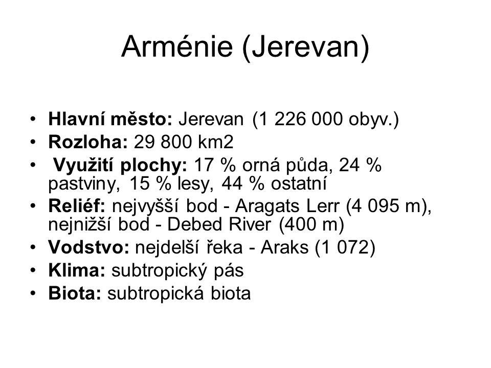 Arménie (Jerevan) Hlavní město: Jerevan (1 226 000 obyv.) Rozloha: 29 800 km2 Využití plochy: 17 % orná půda, 24 % pastviny, 15 % lesy, 44 % ostatní R