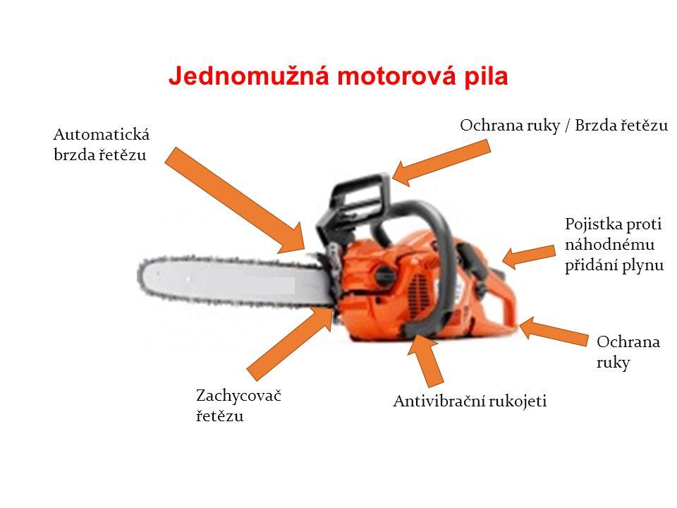 Jednomužná motorová pila Automatická brzda řetězu Zachycovač řetězu Antivibrační rukojeti Ochrana ruky Pojistka proti náhodnému přidání plynu Ochrana