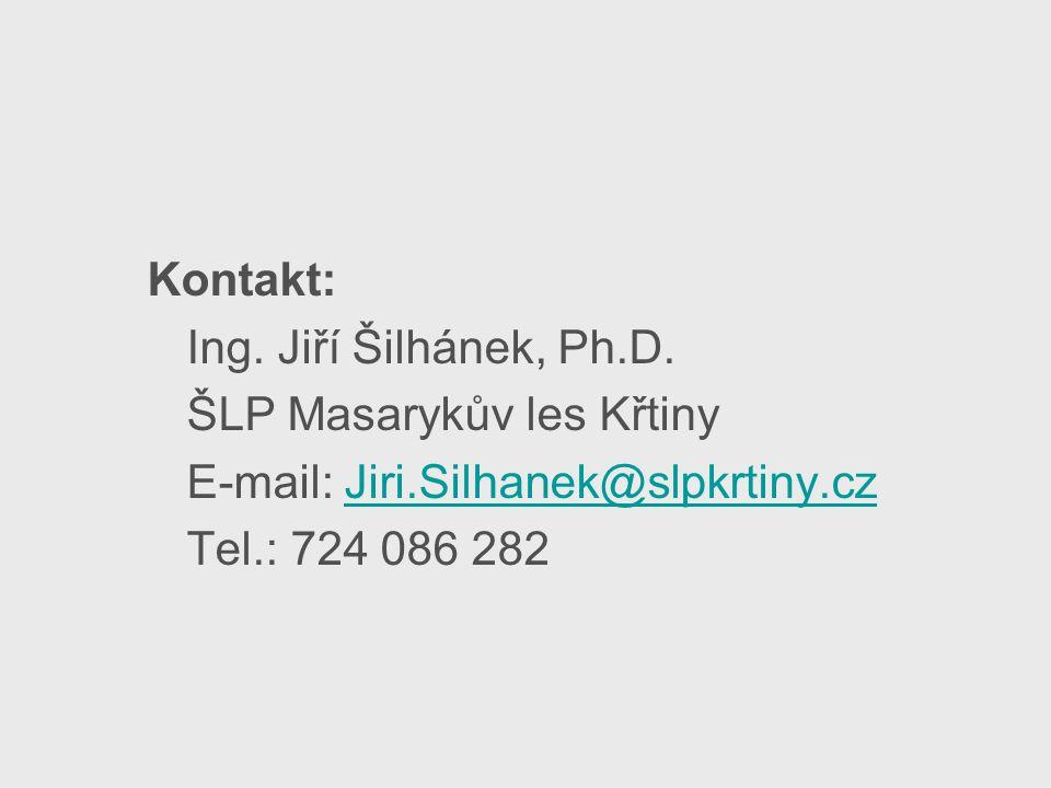 Kontakt: Ing. Jiří Šilhánek, Ph.D. ŠLP Masarykův les Křtiny E-mail: Jiri.Silhanek@slpkrtiny.czJiri.Silhanek@slpkrtiny.cz Tel.: 724 086 282