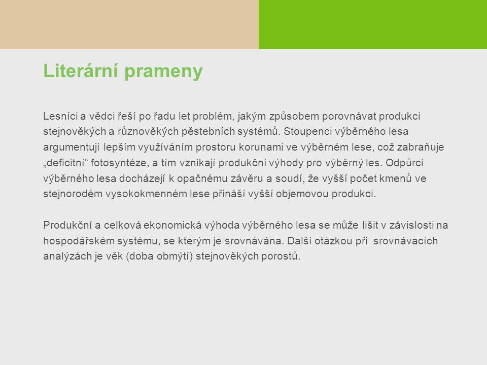 Literární prameny Lesníci a vědci řeší po řadu let problém, jakým způsobem porovnávat produkci stejnověkých a různověkých pěstebních systémů. Stoupenc