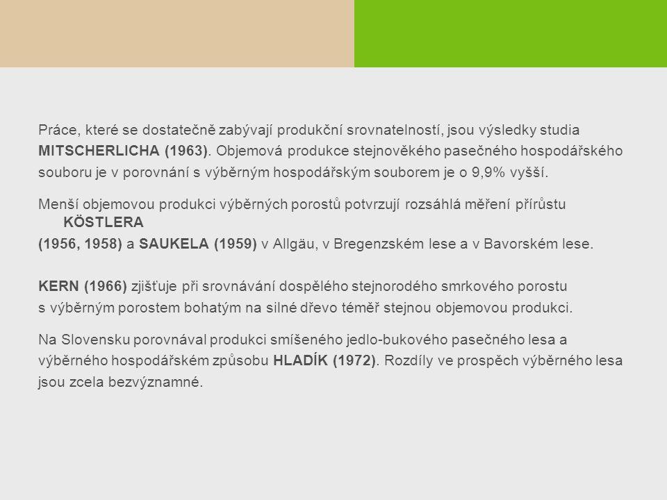 Práce, které se dostatečně zabývají produkční srovnatelností, jsou výsledky studia MITSCHERLICHA (1963). Objemová produkce stejnověkého pasečného hosp