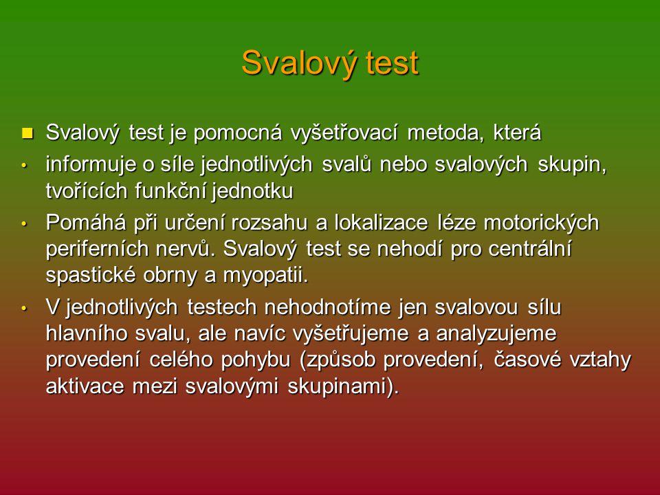 Svalový test Svalový test je pomocná vyšetřovací metoda, která Svalový test je pomocná vyšetřovací metoda, která informuje o síle jednotlivých svalů n