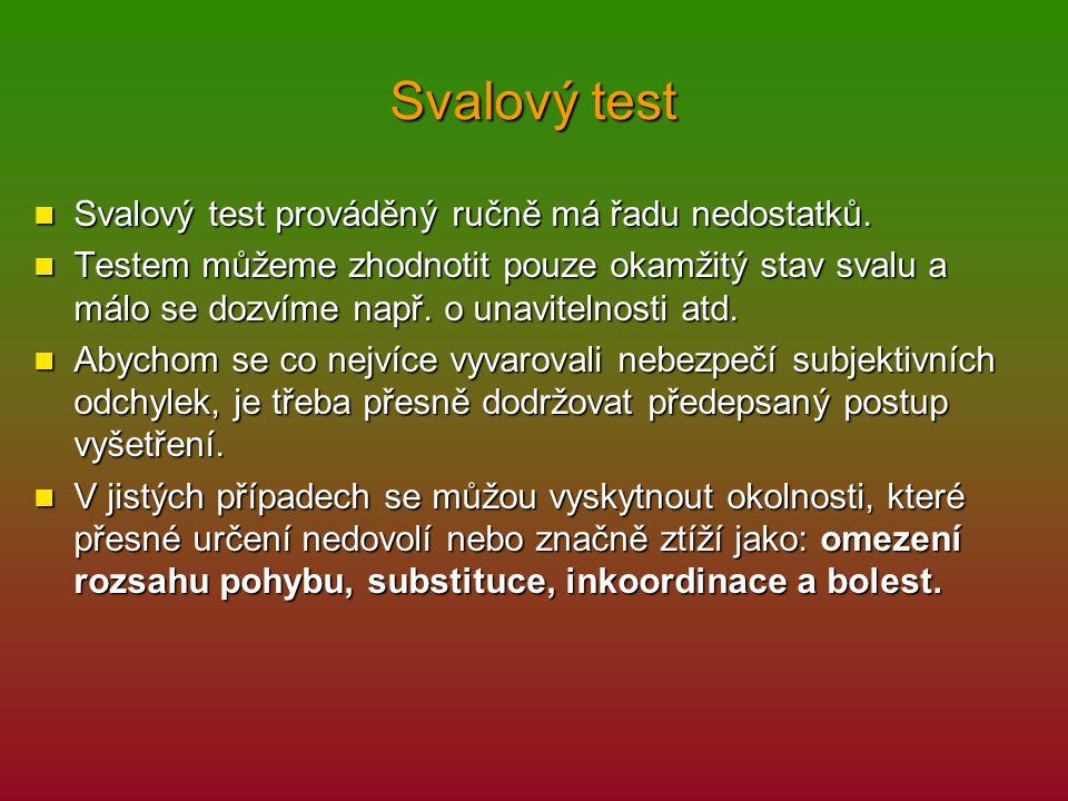 Svalový test Svalový test prováděný ručně má řadu nedostatků. Svalový test prováděný ručně má řadu nedostatků. Testem můžeme zhodnotit pouze okamžitý