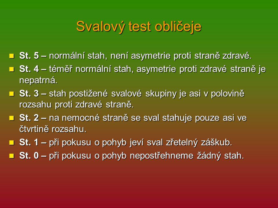 Svalový test obličeje St. 5 – normální stah, není asymetrie proti straně zdravé. St. 5 – normální stah, není asymetrie proti straně zdravé. St. 4 – té