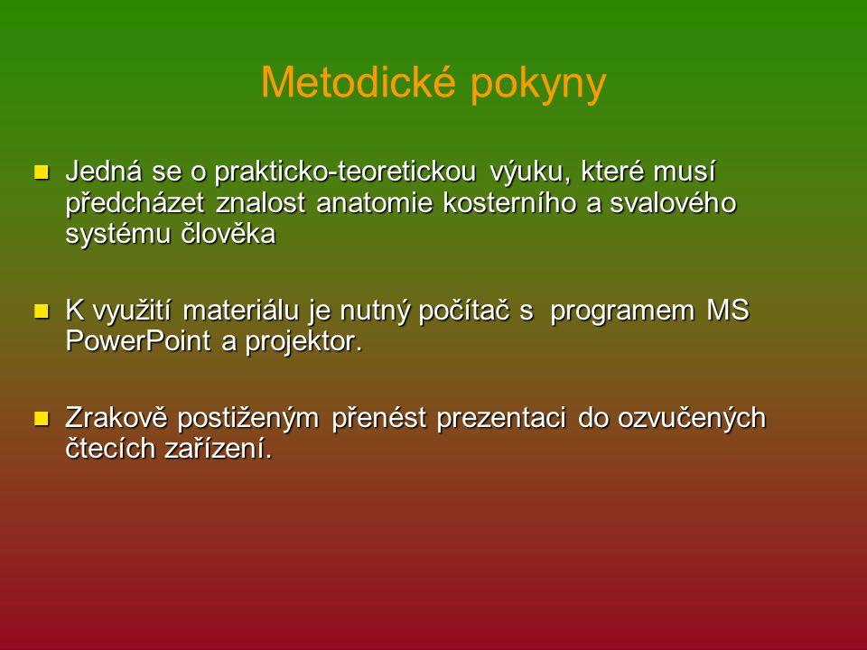 Metodické pokyny Jedná se o prakticko-teoretickou výuku, které musí předcházet znalost anatomie kosterního a svalového systému člověka Jedná se o prak
