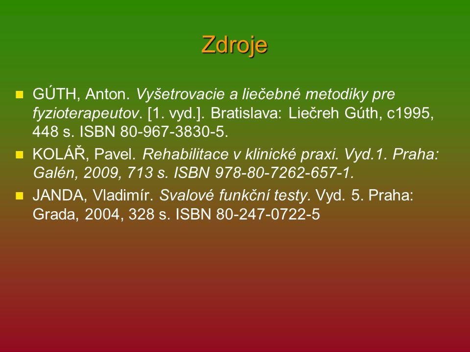 Zdroje GÚTH, Anton. Vyšetrovacie a liečebné metodiky pre fyzioterapeutov. [1. vyd.]. Bratislava: Liečreh Gúth, c1995, 448 s. ISBN 80-967-3830-5. KOLÁŘ