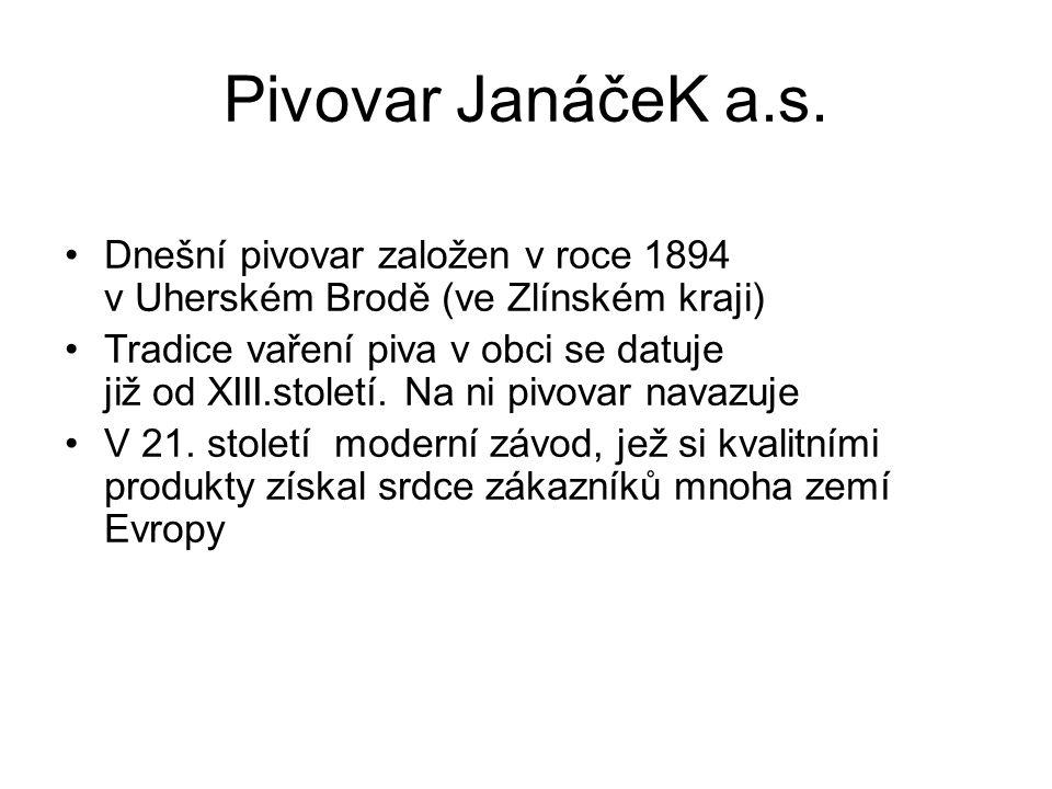 Pivovar JanáčeK a.s. Dnešní pivovar založen v roce 1894 v Uherském Brodě (ve Zlínském kraji) Tradice vaření piva v obci se datuje již od XIII.století.
