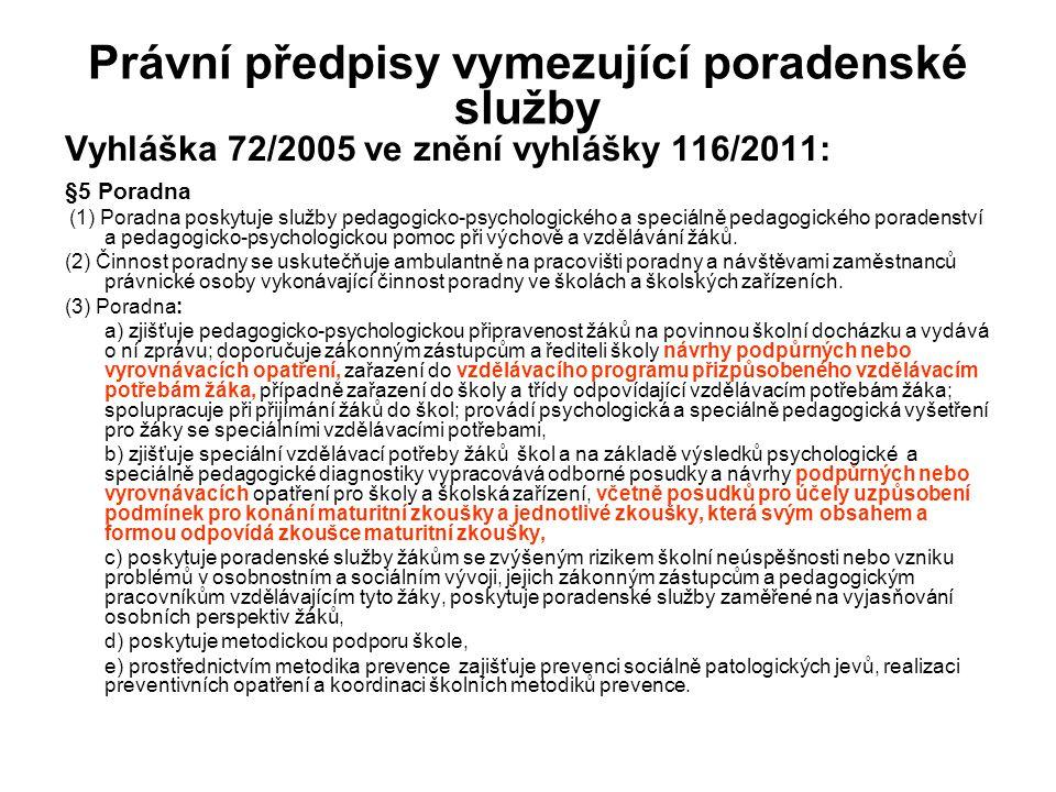 Právní předpisy vymezující poradenské služby Vyhláška 72/2005 ve znění vyhlášky 116/2011: §5 Poradna (1) Poradna poskytuje služby pedagogicko-psycholo