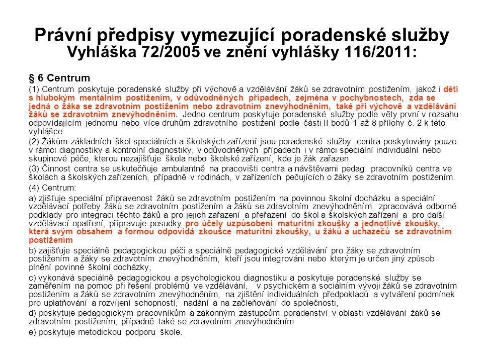 Právní předpisy vymezující poradenské služby Vyhláška 72/2005 ve znění vyhlášky 116/2011: § 6 Centrum (1) Centrum poskytuje poradenské služby při vých