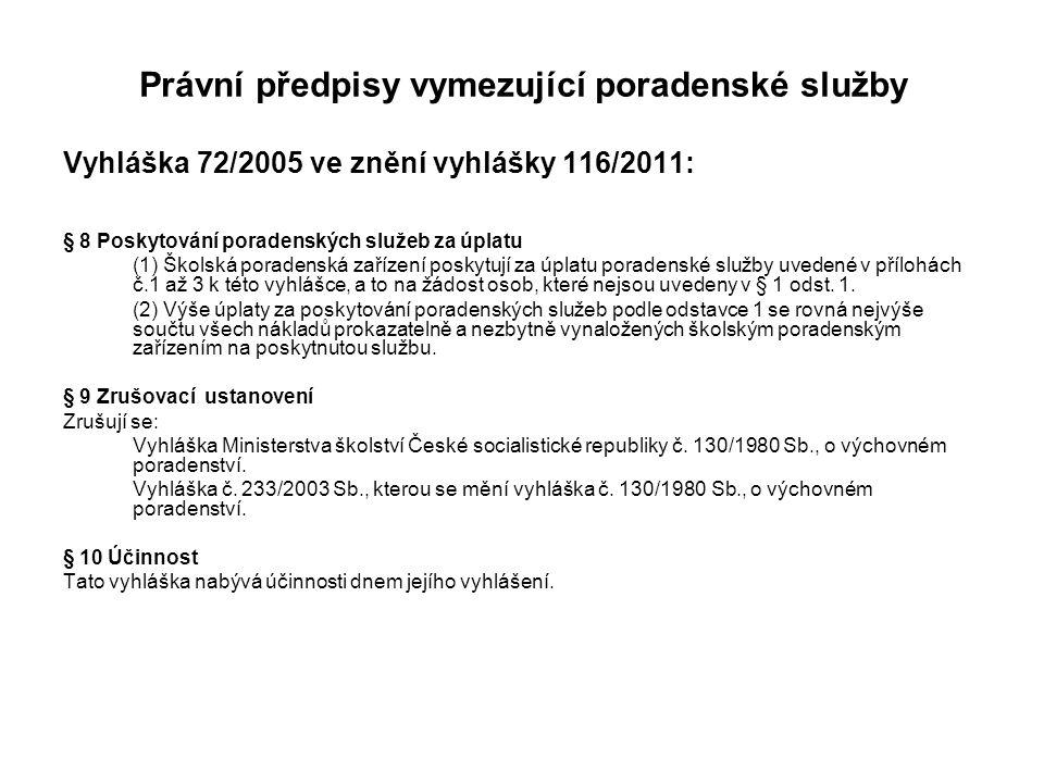 Právní předpisy vymezující poradenské služby Vyhláška 72/2005 ve znění vyhlášky 116/2011: § 8 Poskytování poradenských služeb za úplatu (1) Školská po