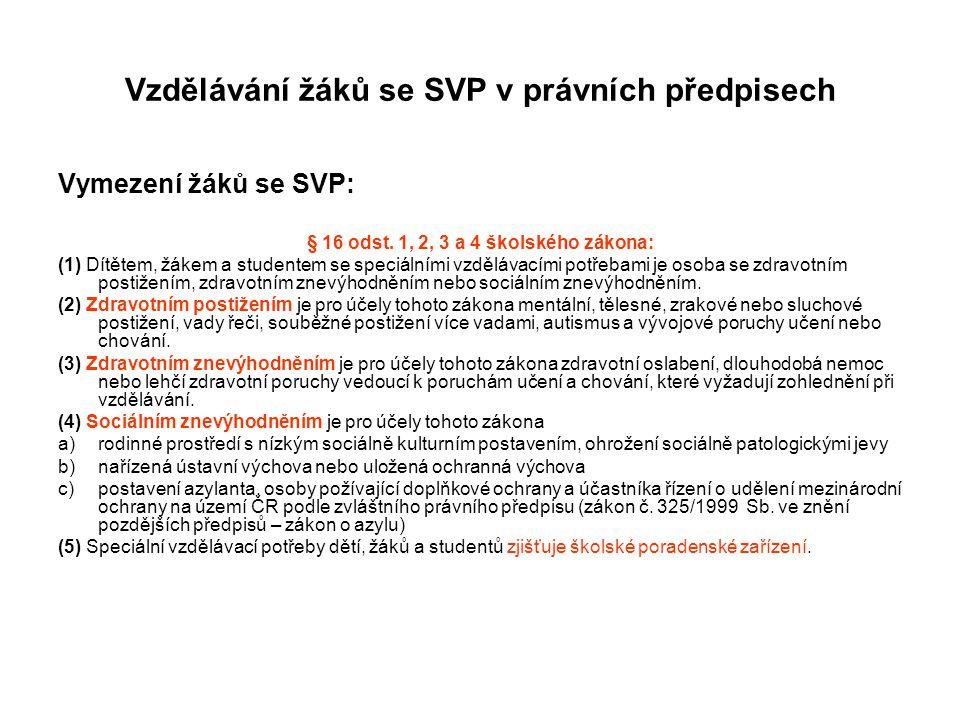 Vzdělávání žáků se SVP v právních předpisech Vymezení žáků se SVP: § 16 odst. 1, 2, 3 a 4 školského zákona: (1) Dítětem, žákem a studentem se speciáln