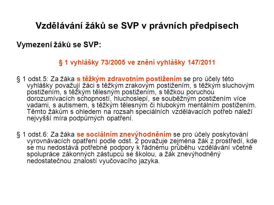 Vzdělávání žáků se SVP v právních předpisech Vymezení žáků se SVP: § 1 vyhlášky 73/2005 ve znění vyhlášky 147/2011 § 1 odst.5: Za žáka s těžkým zdravo