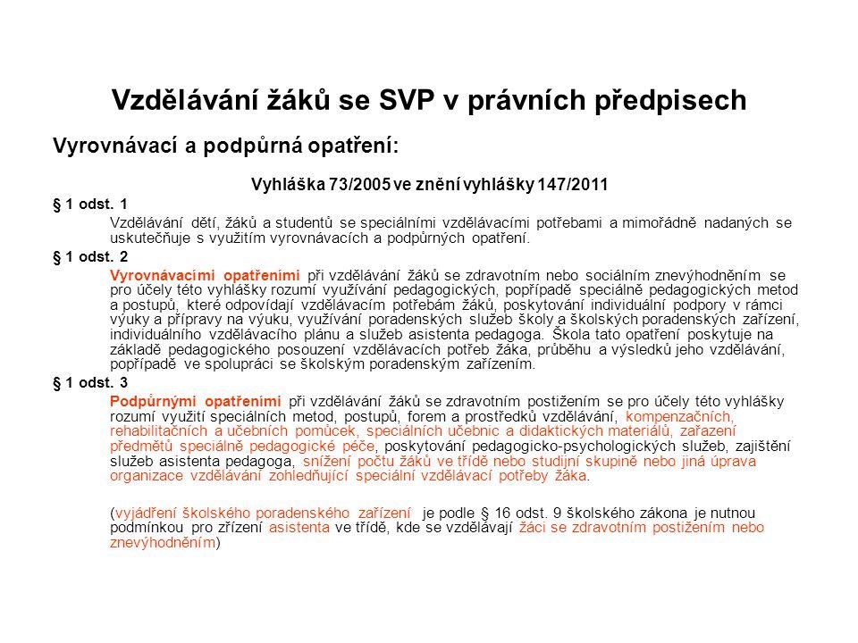 Vzdělávání žáků se SVP v právních předpisech Vyrovnávací a podpůrná opatření: Vyhláška 73/2005 ve znění vyhlášky 147/2011 § 1 odst. 1 Vzdělávání dětí,
