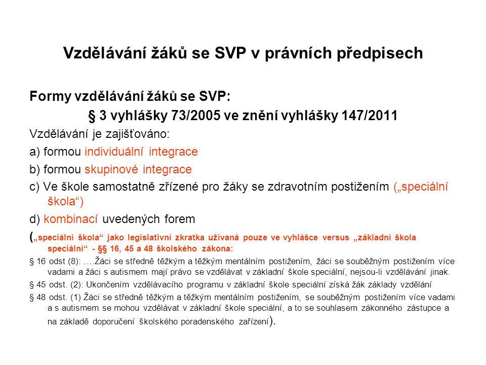 Vzdělávání žáků se SVP v právních předpisech Formy vzdělávání žáků se SVP: § 3 vyhlášky 73/2005 ve znění vyhlášky 147/2011 Vzdělávání je zajišťováno: