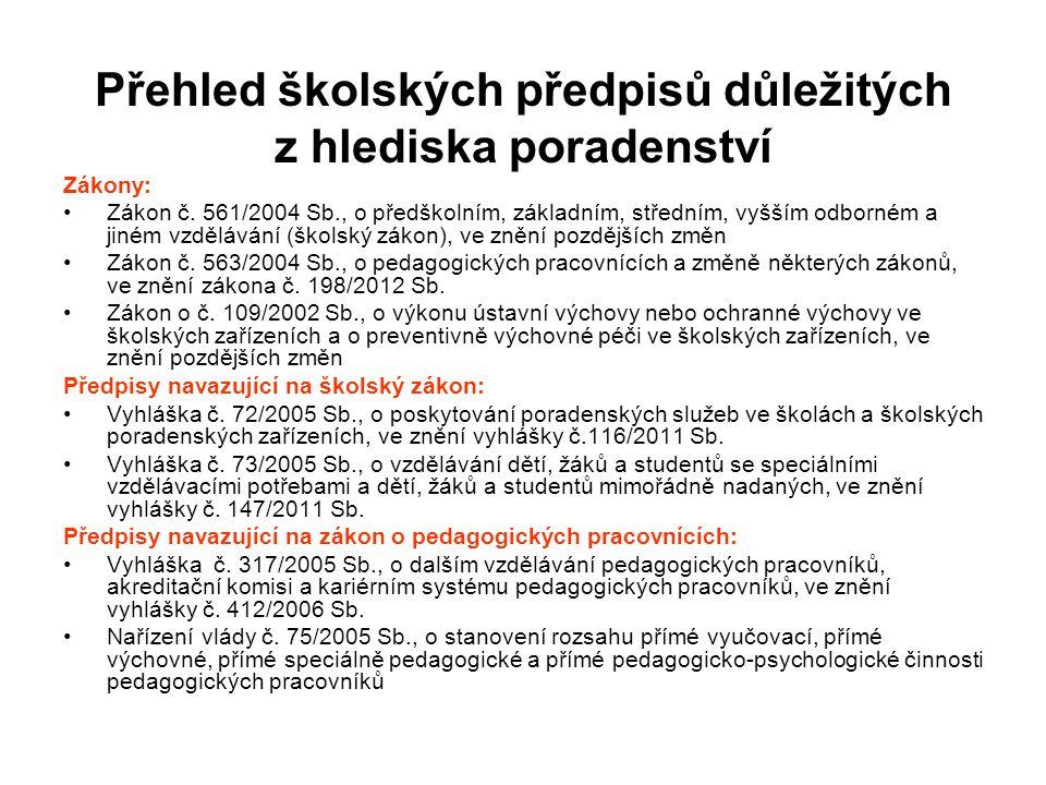 Přehled školských předpisů důležitých z hlediska poradenství Zákony: Zákon č. 561/2004 Sb., o předškolním, základním, středním, vyšším odborném a jiné