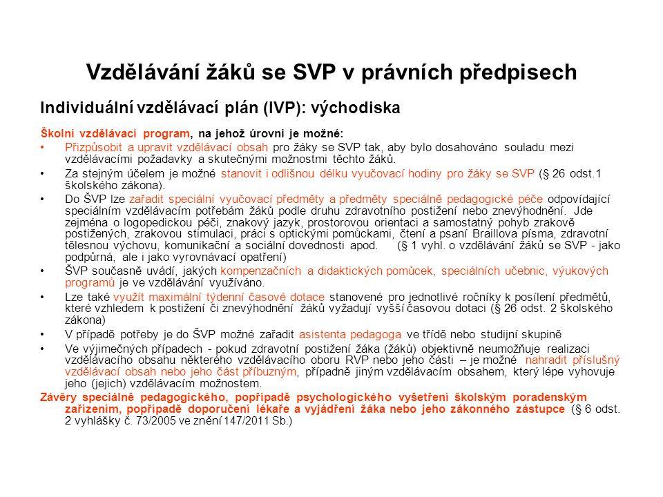 Vzdělávání žáků se SVP v právních předpisech Individuální vzdělávací plán (IVP): východiska Školní vzdělávací program, na jehož úrovni je možné: Přizp