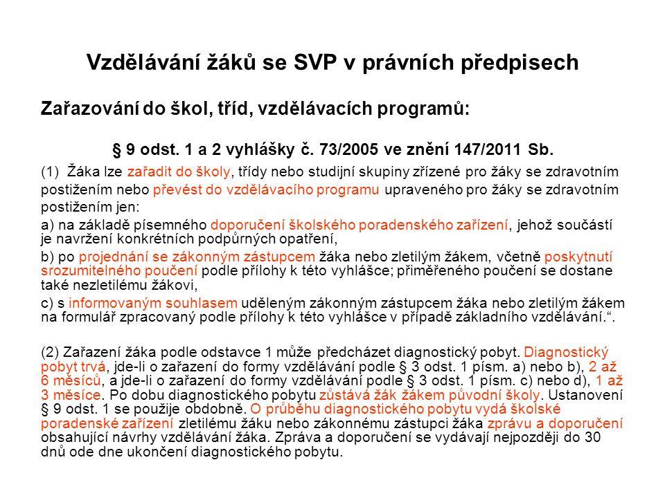 Vzdělávání žáků se SVP v právních předpisech Zařazování do škol, tříd, vzdělávacích programů: § 9 odst. 1 a 2 vyhlášky č. 73/2005 ve znění 147/2011 Sb