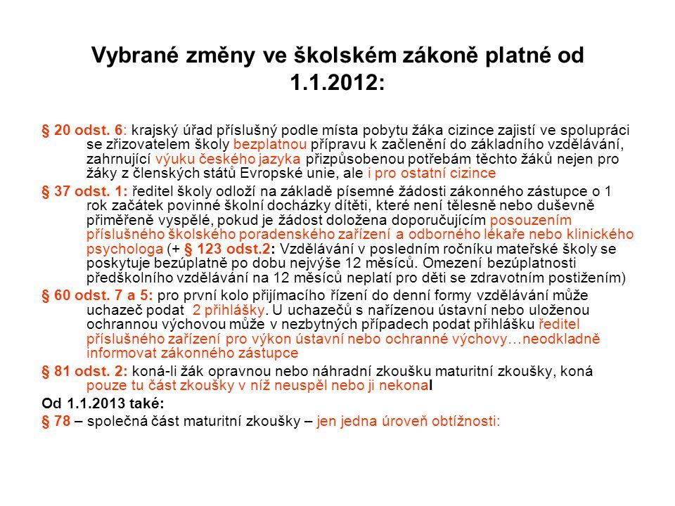 Vybrané změny ve školském zákoně platné od 1.1.2012: § 20 odst. 6: krajský úřad příslušný podle místa pobytu žáka cizince zajistí ve spolupráci se zři
