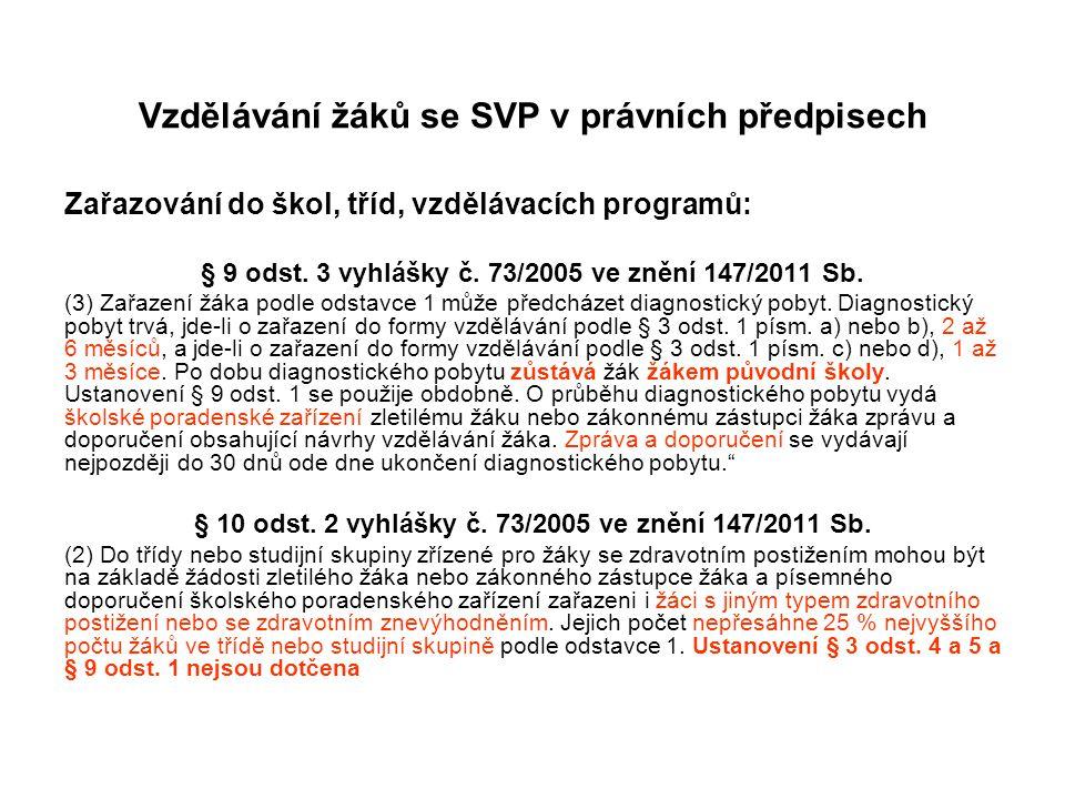 Vzdělávání žáků se SVP v právních předpisech Zařazování do škol, tříd, vzdělávacích programů: § 9 odst. 3 vyhlášky č. 73/2005 ve znění 147/2011 Sb. (3