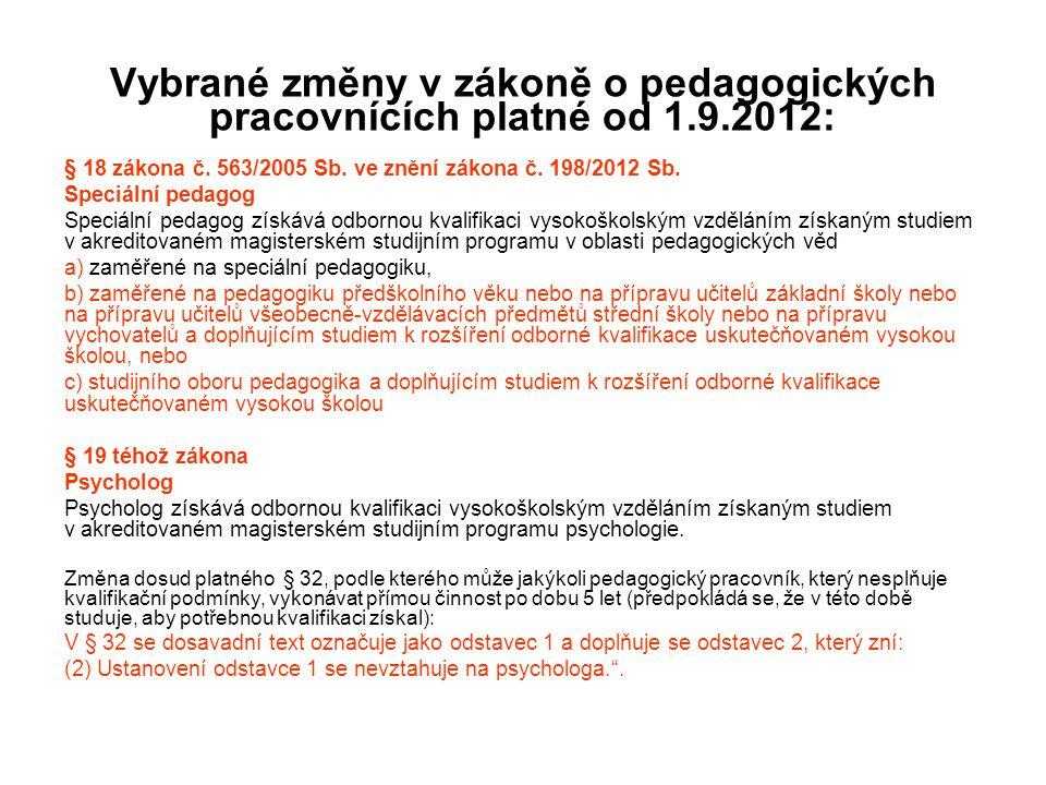 Vybrané změny v zákoně o pedagogických pracovnících platné od 1.9.2012: § 18 zákona č. 563/2005 Sb. ve znění zákona č. 198/2012 Sb. Speciální pedagog