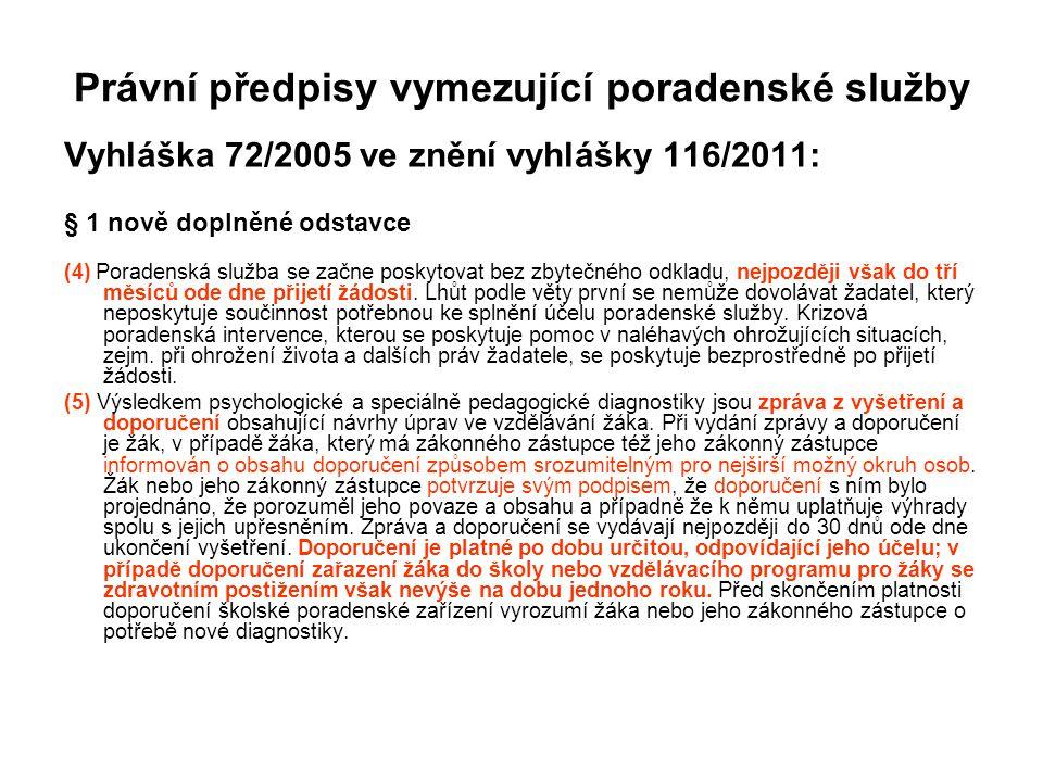 Právní předpisy vymezující poradenské služby Vyhláška 72/2005 ve znění vyhlášky 116/2011: § 1 nově doplněné odstavce (4) Poradenská služba se začne po