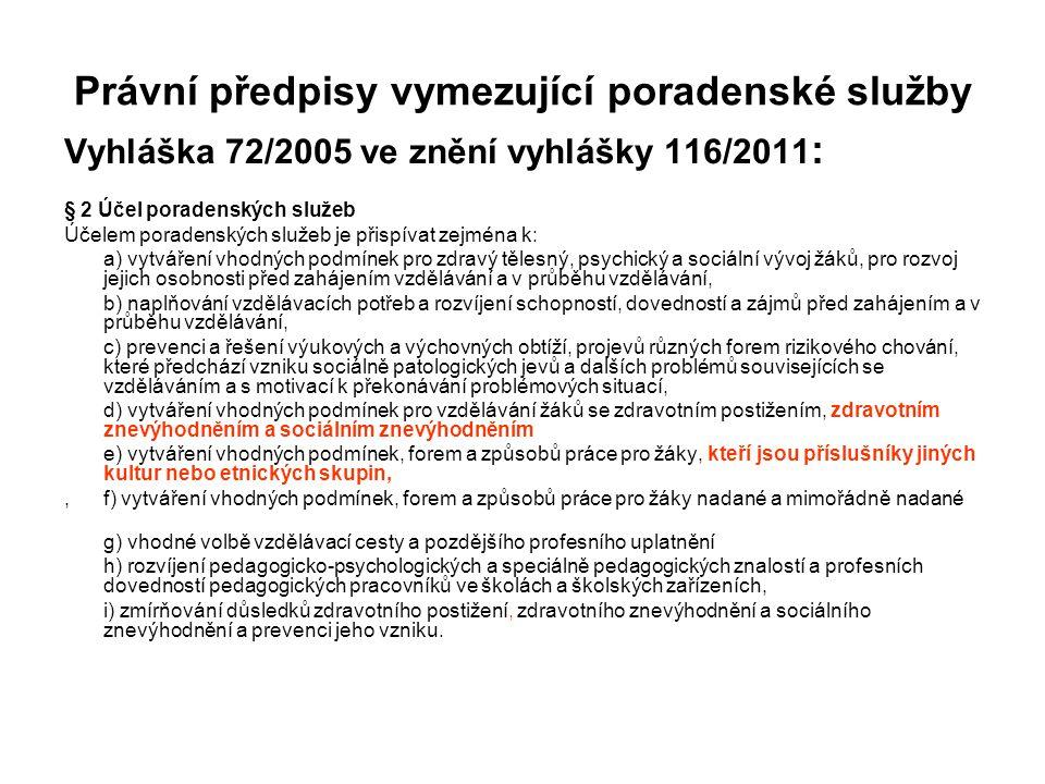 Právní předpisy vymezující poradenské služby Vyhláška 72/2005 ve znění vyhlášky 116/2011 : § 2 Účel poradenských služeb Účelem poradenských služeb je