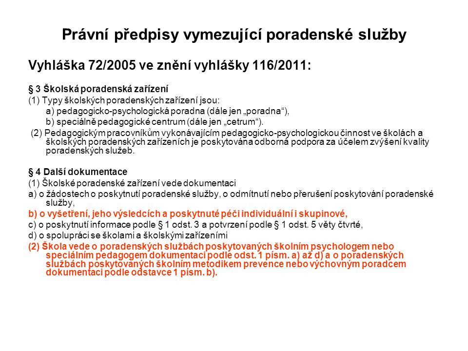 Právní předpisy vymezující poradenské služby Vyhláška 72/2005 ve znění vyhlášky 116/2011: § 3 Školská poradenská zařízení (1) Typy školských poradensk