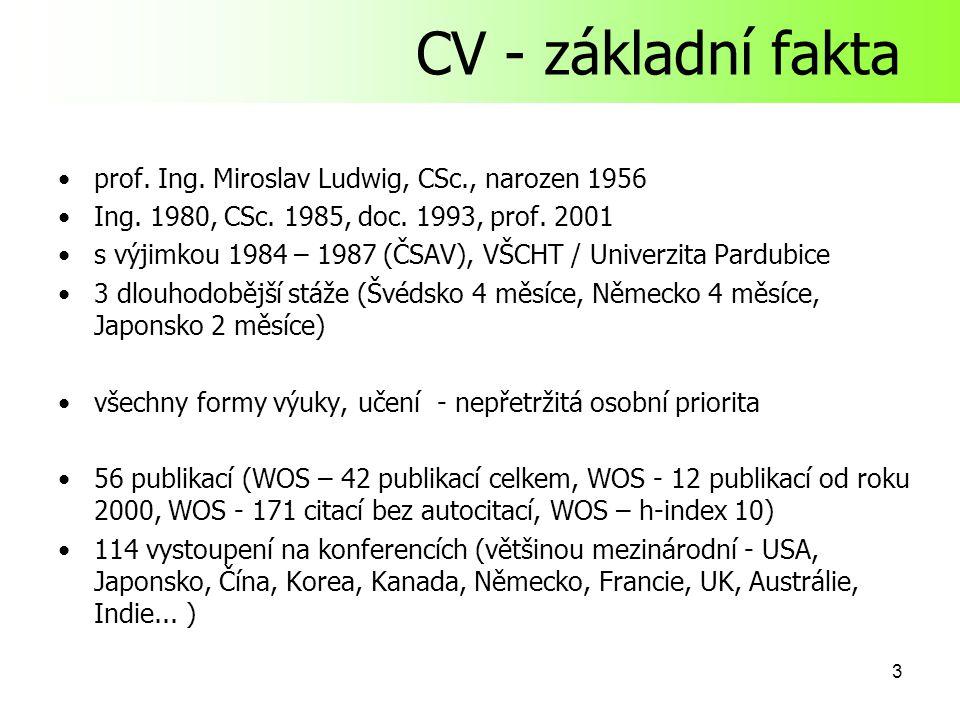 3 CV - základní fakta prof.Ing. Miroslav Ludwig, CSc., narozen 1956 Ing.