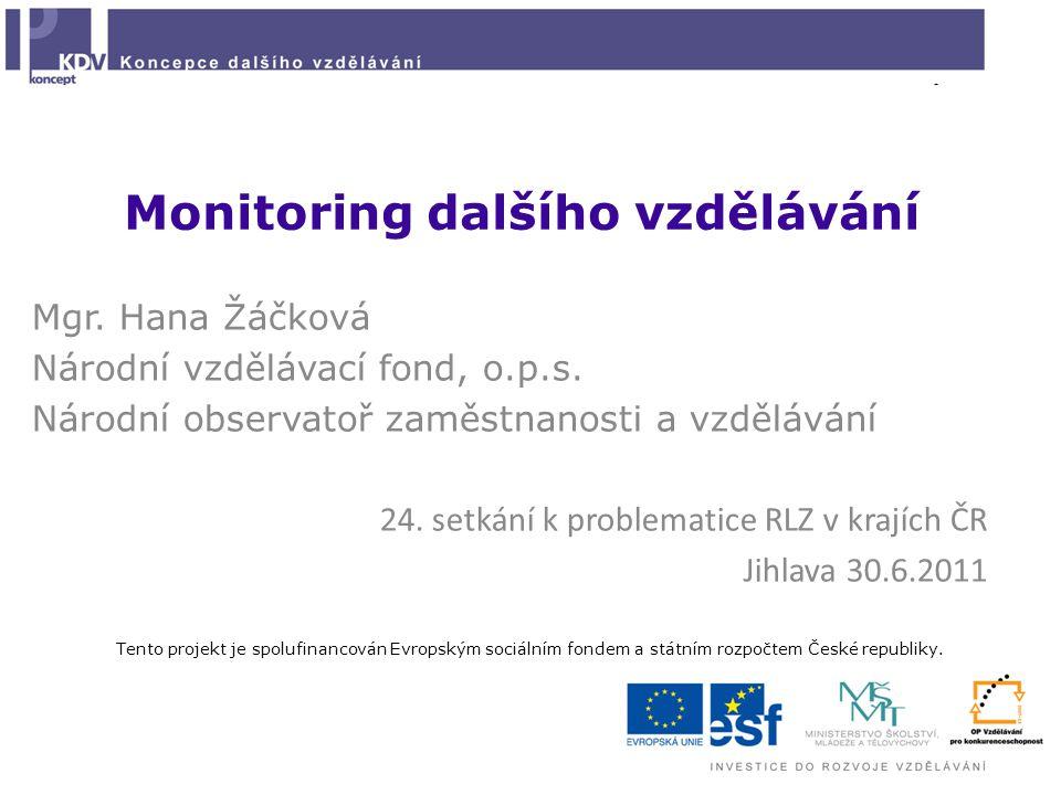 Monitoring dalšího vzdělávání Mgr. Hana Žáčková Národní vzdělávací fond, o.p.s. Národní observatoř zaměstnanosti a vzdělávání 24. setkání k problemati