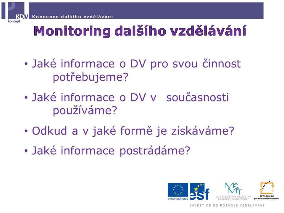 Jaké informace o DV pro svou činnost potřebujeme? Jaké informace o DV v současnosti používáme? Odkud a v jaké formě je získáváme? Jaké informace postr
