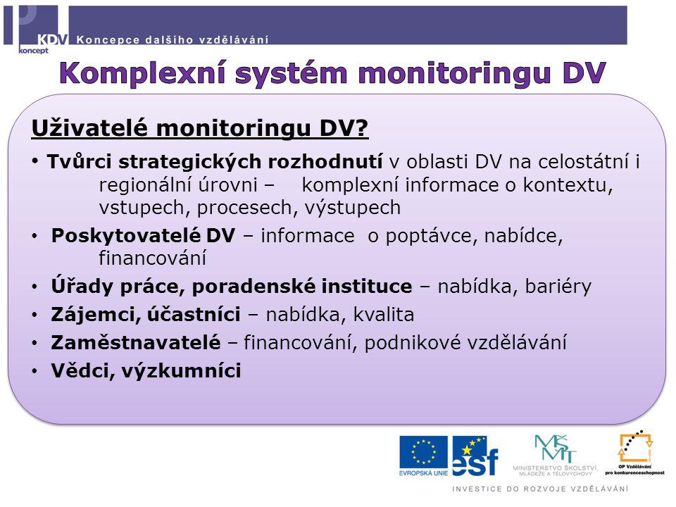 Uživatelé monitoringu DV? Tvůrci strategických rozhodnutí v oblasti DV na celostátní i regionální úrovni – komplexní informace o kontextu, vstupech, p