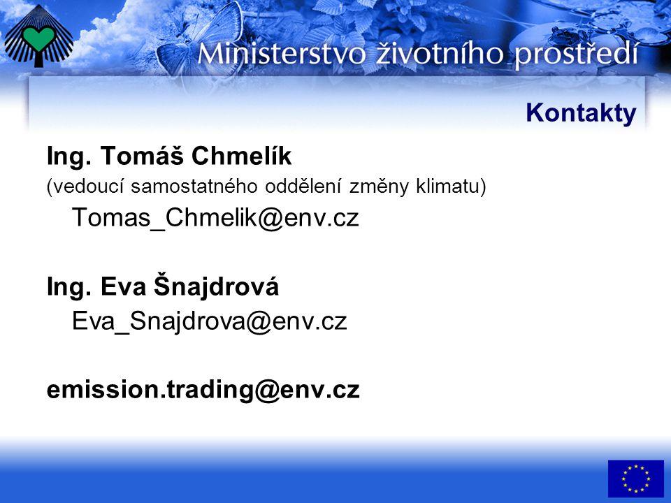 Kontakty Ing. Tomáš Chmelík (vedoucí samostatného oddělení změny klimatu) Tomas_Chmelik@env.cz Ing.