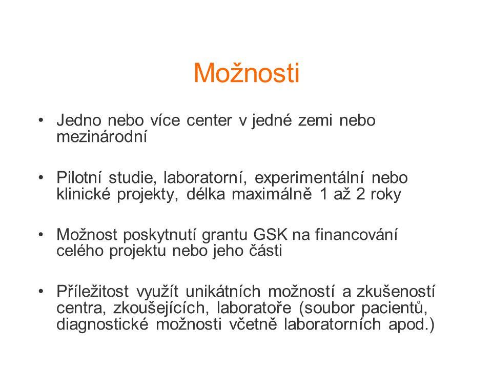 Možnosti Jedno nebo více center v jedné zemi nebo mezinárodní Pilotní studie, laboratorní, experimentální nebo klinické projekty, délka maximálně 1 až