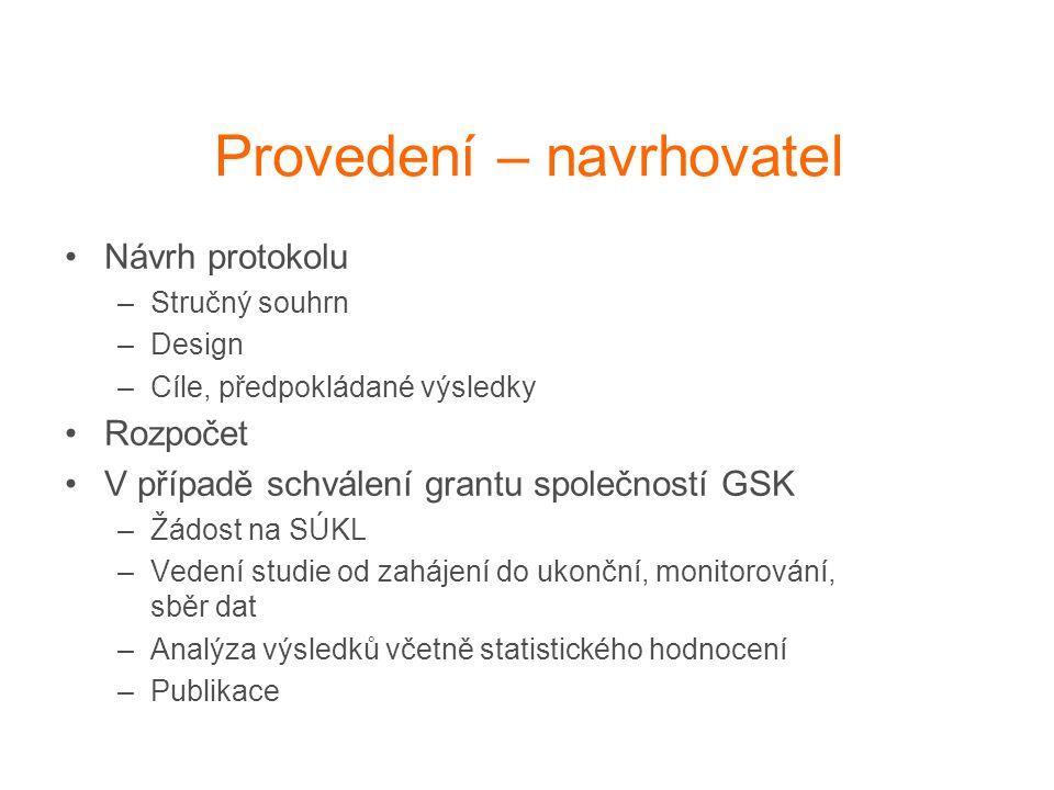 Analogie - grant IGA x GSK IGA Navrhovatel - návrh vědeckého projektu a rozpočtu Vedení pracoviště pracoviště posoudí a schválí Doporučený návrh zašle interní grantové agentuře MZ Návrh posoudí 2 oponenti z ČR a 1 zahraniční a doporučí k realizaci IGA schválí projekt včetně plánovaného rozpočtu / přidělí jen část rozpočtu Navrhovatel realizuje projekt s plánovanými zdroji, průběžně posílá zprávu o postupu, vypracuje závěr a výstupy (publikace), vyúčtuje GSK Stejně – pouze formulář společnosti GSK Medicínské odd.
