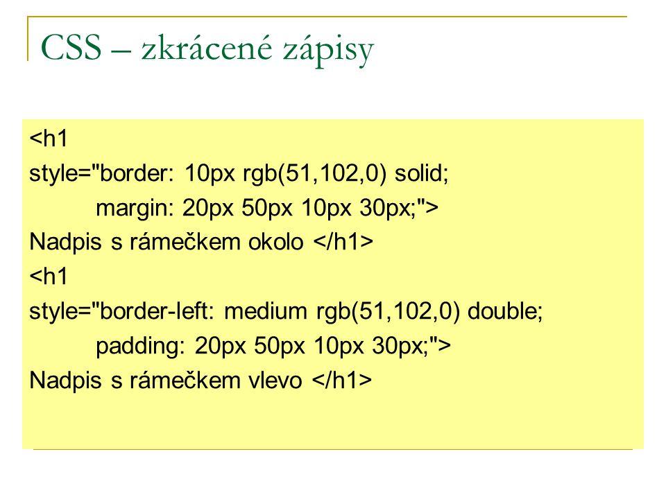 CSS – zkrácené zápisy <h1 style=