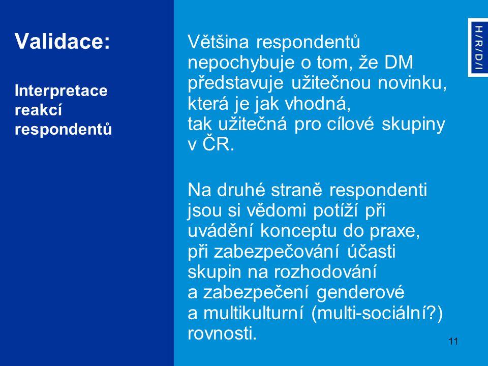 11 Validace: Interpretace reakcí respondentů Většina respondentů nepochybuje o tom, že DM představuje užitečnou novinku, která je jak vhodná, tak užitečná pro cílové skupiny v ČR.